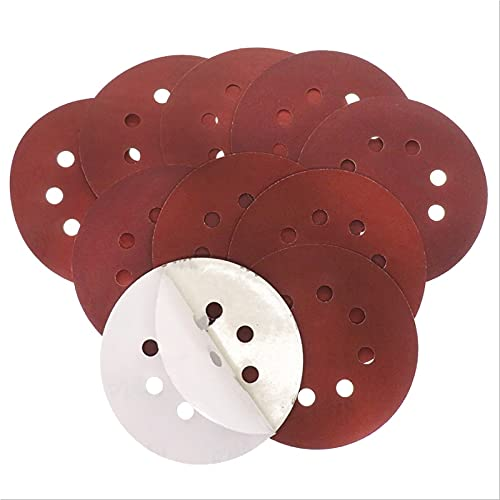 15pcs 5'125 mm Discos de lijado adhesivo adhesivo redondo hojas de arena de disco de arena rojas redondas con grano de 8 hoyos 180/240/320 para lijadora orbital (Size : 180)