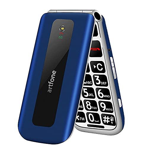 artfone Teléfono Móvil para Mayores, Senior Móviles de Teclas Grandes, SOS Botón, Pantalla de 2,4 Pulgadas, 2G gsm, Doble SIM, Llamada rápida, Sonido Fuerte de Radio, 1000mAh Batería, Azul