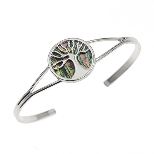 'Heaven & Earth' Family Tree Abalone Tree Of Life Bangle (Adjustable) Silver Plated Paua Shell Bracelet - Unique Jewellery In BellaMira Gift Box