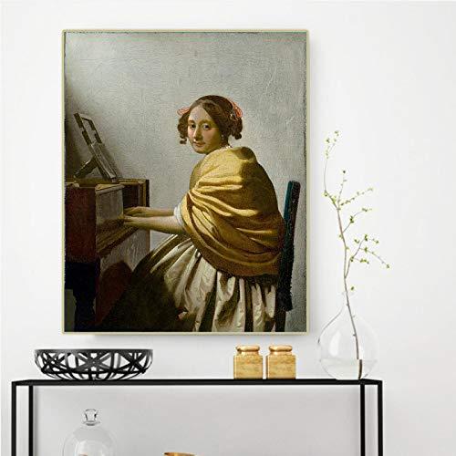 Impresión en lienzo Johannes Vermeer 《Una mujer joven sen