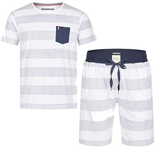 Phil & Co. Berlin kurzer Herren Pyjama Schlafanzug Bermuda Short Kurzarm grau Streifen, Grösse:XXL, Farbe:Mehrfarbig