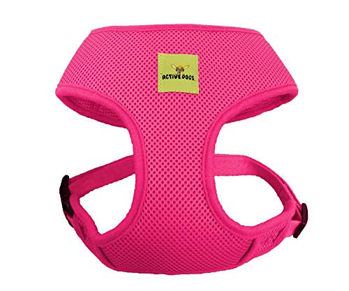 Active Dogs Dog Harness No Pull & No Choke Adjustable Pet Vest Harness for Dogs Reflective Adjustable Breathable Front Clip Pet Harness for Small Medium and Large Dogs (X-Small, Pink)