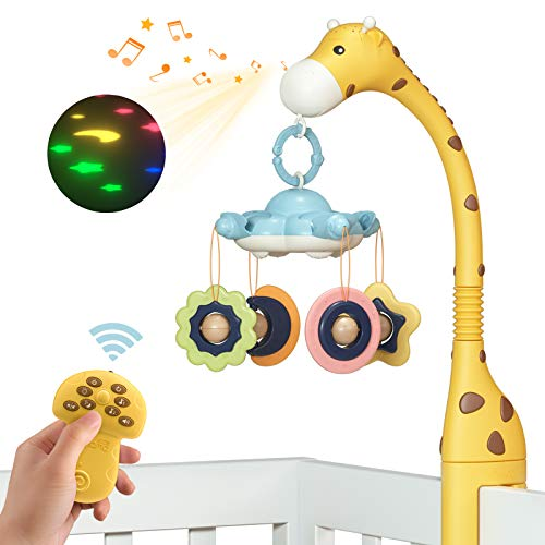 TUMAMA Remote Control Giraffe Baby Crib Mobiles with Projection Lights and Music,Volume Up or Down,Sleeping,Piano and Natural Music,Auto-Sleep and Off,Mute Spin Motor,Bendable Tube Neck,Yellow