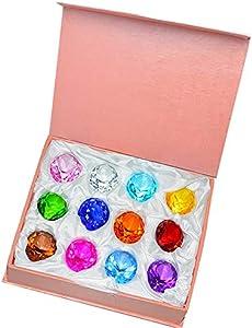 Simuer - Pisapapeles de cristal de 30 mm con piedra, decoración de mesa para el hogar (12 unidades)