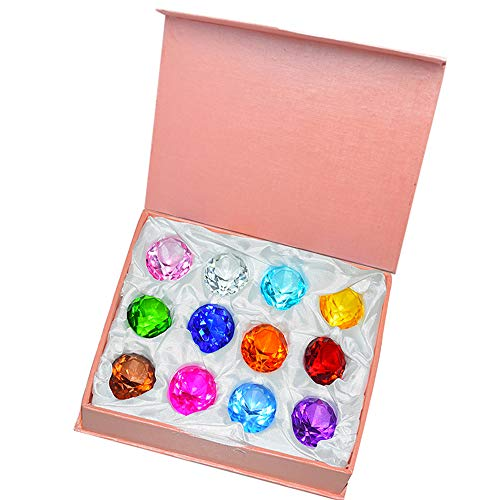 SIMUER 30mm Crystal Glass Diamond Paperweight Birthstone Ornament Home Table Decorations (12pcs) Mother's Day Birthday Special Gift Box Set