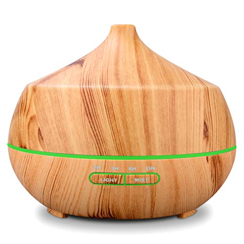 RENWER Essential Oil Diffuser, 400ml Wood Grain Ultrasonic Cool Mist Humidifier, Diffuser for essential oils, 4 Timer 7 Color LED Lights Waterless Auto Shut-off for Yoga/Spa/Bedroom