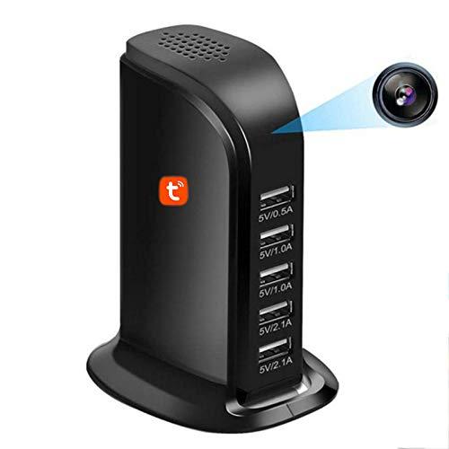 Tuya Smart Cámara Cargador USB, Cámara IP de seguridad para el hogar Videocámaras de visión nocturna con infrarrojos de 1080P Videocámaras de video oculto WIFI inalámbrico