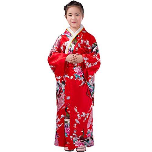 Vestido Niñas Kimono Japones Niños Vestidos para Niña Niños Yukata Tradicional Ropa Niña Satén Soft Flor Peacock Estampado Albornoces Pijamas para los Niños Fotografia Cosplay (Rojo, 9-10 años)
