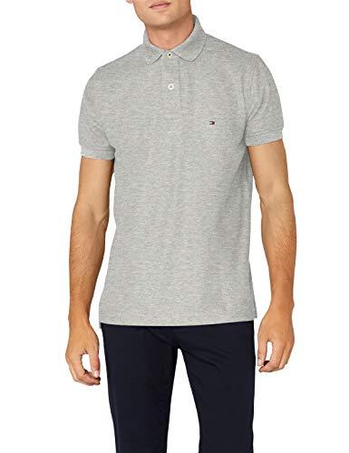 Tommy Hilfiger Herren CORE Hilfiger Regular Polo Poloshirt, Grau (Cloud Htr 501), Medium (Herstellergröße: MD)