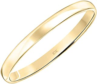 Women's 10K Rose, White or Yellow Gold 2MM Classic Plain...