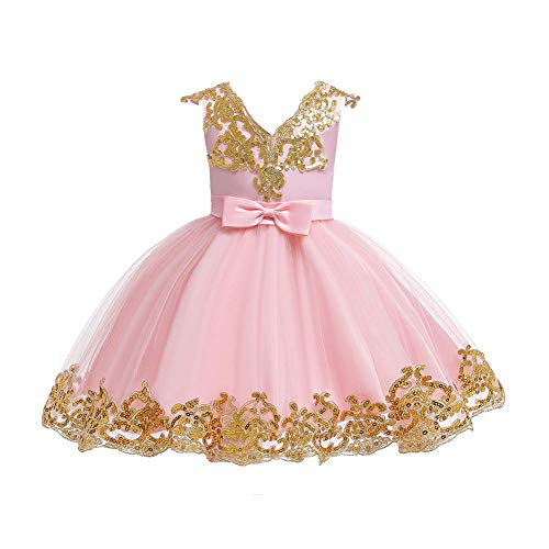FYMNSI Vestido de niña de flores para bebé, vestido de fiesta para niñas, cumpleaños, dama de honor, vestido de boda, tutú de princesa, elegante, línea A Rosa. 5-6 Años