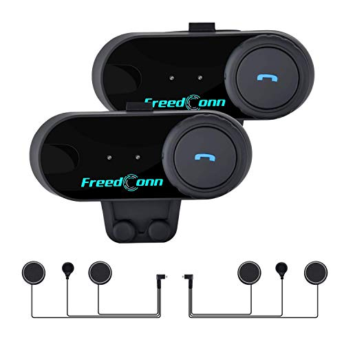 Motorcycle Communication System, FreedConn T-COMVB Helmet Bluetooth Headset for Motorbike Skiing 2~3 Riders Pairing/ 800M Range/ 2 Pack Soft Mic