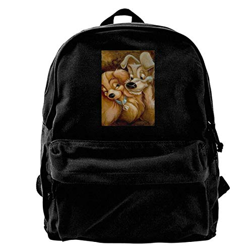 Canvas Rucksack Lady and The Tramp Love Dog Cute Rucksack Gym Wandern Laptop Umhängetasche Daypack für Männer Frauen