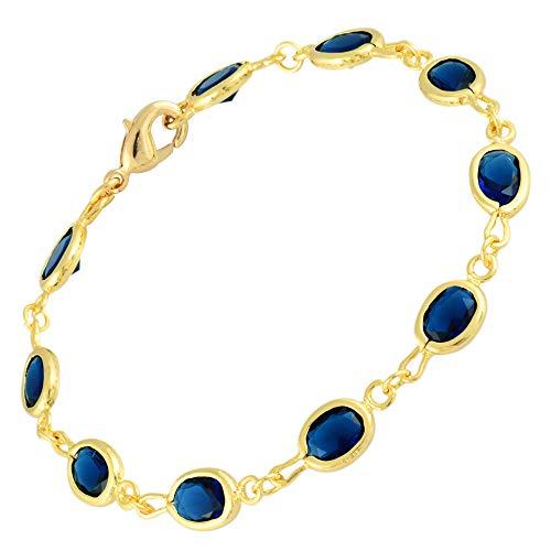 Rizilia Tenis Pulsera [18cm/7inch] con Corte Oval Piedras Preciosas Circonita CZ [Zafiro Azul] en...