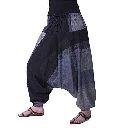 KUNST UND MAGIE Bunte Aladin Haremshose, Farbe:Grau/Schwarz