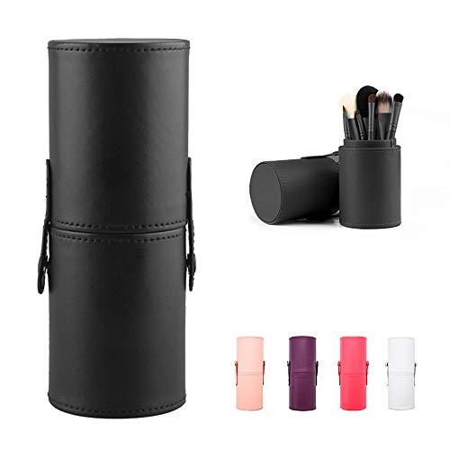 Large Makeup Brush Holder Leather Travel Portable Brushes Storage Case (Black)
