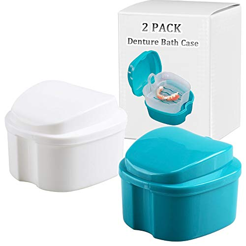 Denture Bath Box Cup, Complete Clean Care for Dentures, Clear Braces, Mouth Guard, Night Guard & Retainers,Traveling