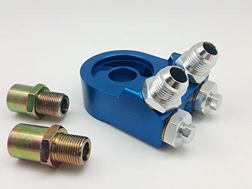 Autobahn88 Aluminium Filtre à huile Sender Sandwich Plate Adaptateur pour Kit Refroidisseur d'huile, adaptateur -10AN x 2, 1/8 NPT x 2, Pour JDM voiture (3/4-16UNF M20-P1.5), Bleu