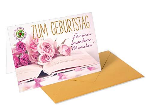 Gouden cadeaukaart, wenskaart, verjaardag, open boek, bloemen