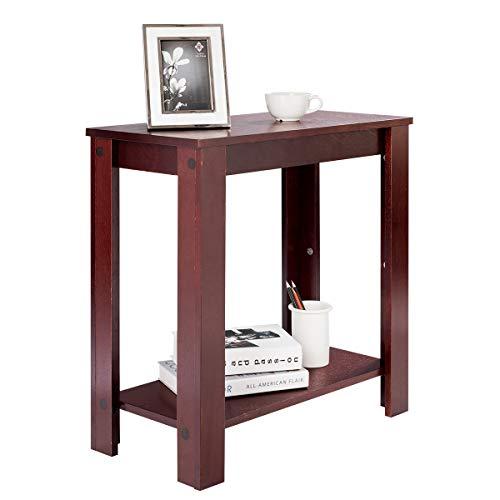 COSTWAY Beistelltisch Holz, Sofatisch Telefontisch Nachttisch Anstelltisch Konsolentisch Couchtisch Kaffeetisch Balkontisch Wohnzimmertisch Flurtisch Ablagetisch, Blumentisch Braun