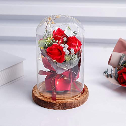 Rosa Eterna la Rosa Della Bella e la Bestia Rose Fiori artificiali Incantate con Luci LED Regali Magici Decorazioni per San Valentino, Compleanno, Festa della Mamma, Anniversario, Matrimonio, Natale