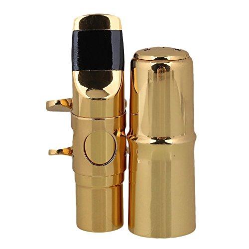 Yibuy #7 Golden Brass B-flat Soprano Saxophone Mouthpiece with Ligature Reed