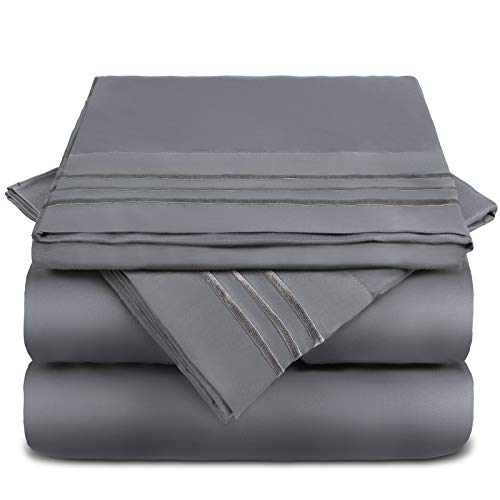 FAPO Queen Bed Sheets Set, 6 Piece Super Brushed Microfiber 1800 Bedding Sheets & Pillowcases-Wrinkle & Fade & Hypoallergenic Resistant Bed Sets-Easy Fit and Breathable & Cooling Sheets (Dark Grey) …