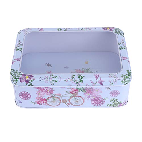 SOIMISS Easter Gift Tins Spring Flower Tinplate Empty Box Metal Bakery Treat Boxes Tea Candles Cookie Containers with Window for Easter Wedding Party Favors