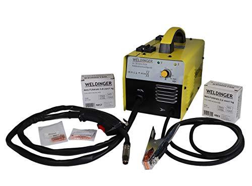 WELDINGER M 130 mini Flux Fülldrahtschweißgerät + je 1kg 0,6/0,8mm Fülldraht + Stromdüsen