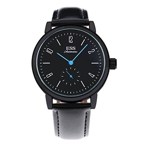 ESS Herren Selbstaufzug mechanische Uhr Automatik Uhren blau Zeiger schwarz