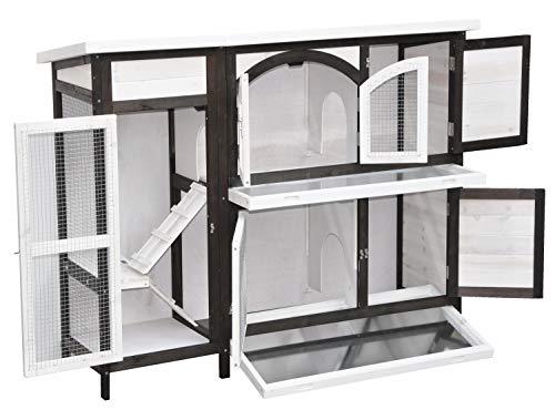 nanook Kaninchenstall, Hasenstall Jumbo XL mit seitlichen Aufgängen für mehr Platz – Wetterfest extragroß 138 x 48 x 109 cm braun/Weiss - 2