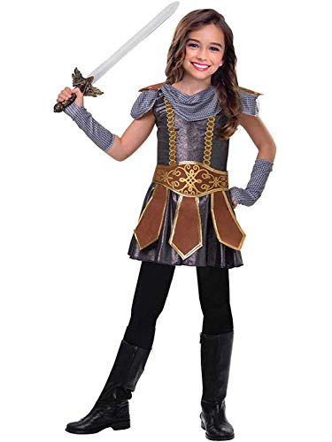 amscan 9903189 Disfraz medieval para mujer con cinturón de guerrero y guantes, de 5 a 6 años, 1 unidad, multicolor