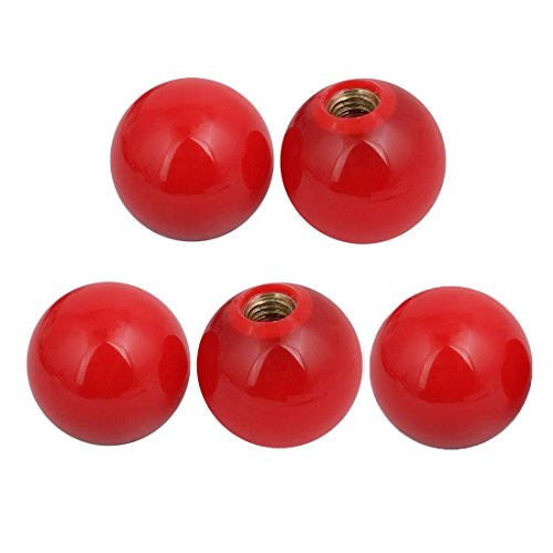 LDEXIN 5 Pcs 0.4' (10mm) Female Thread Bore 1.5' (38mm) Spherical Round Ball Lever Knobs Lathe Tractor Machine Handle - Red