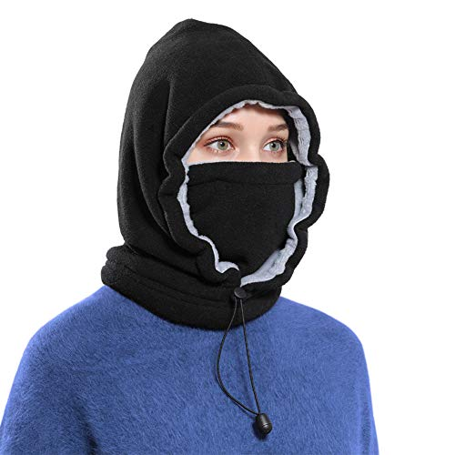 Ski Face Mask Women Men Balaclava Fleece Hood Winter Face Mask Head Warmer(Black)