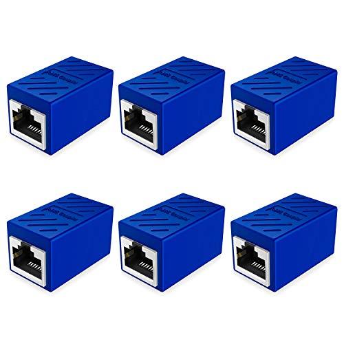 RJ45 Coupler Cat7/Cat6/Cat5/Cat5e Network Connector Ethernet Cable Coupler Extender Female to Female 6 Pack, Blue