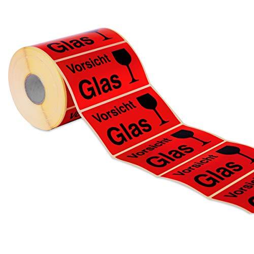 Etiketten Aufkleber Vorsicht Glas rot 1000 Stück extra groß 145x76mm Warnetikett auf Rolle 597101 - Menge wählbar