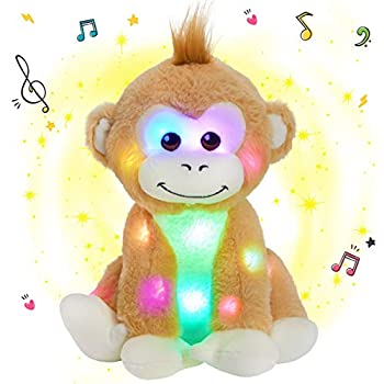 SpecialYou Musical Light up Monkey Stuffed Animals LED Singing Plush Toy with Night Lights Lullabies Birthday for Toddler Kids 10''