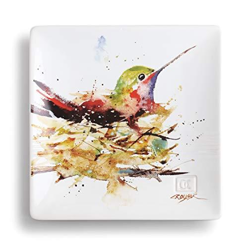 Dean Crouser Hummingbird In Nest Watercolor 7 x 7 Ceramic Stoneware Decorative Snack Plate