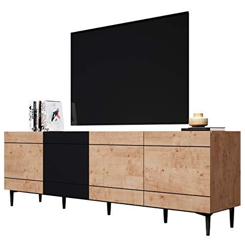Newfurn Kommode Schwarz Wildeiche Sideboard Vintage Industrial - 200x65x42 cm (BxHxT) - Highboard Anrichte - [Nizza.six] Wohnzimmer Schlafzimmer Flur Esszimmer