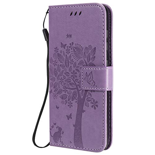 (Sleep bear) Case for Samsung Galaxy A31, Cat Tree Butterfly Animal Animal Pattern PU Leather Portable Wallet Stand Flip Protection Cover Phone Holster+Stylus-Lavender