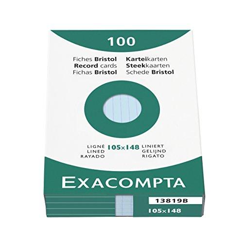 Exacompta 13819B Packung mit 100 Karteikarten, DIN A6, liniert, ideal für Notizen, Blau, 1 Pack