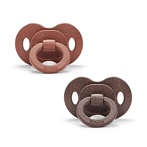 Elodie Details Baby Schnuller 2er Pack, aus Bambus, Größe ab 3 Monaten - Tropfenform - Symmetrish - Naturkautschuk - Burned Clay/Chocolate
