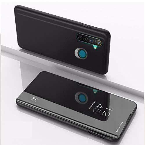 SWMGO® Spiegel Überzug Flip Hülle für Oppo Realme 5 Pro (Schwarz)
