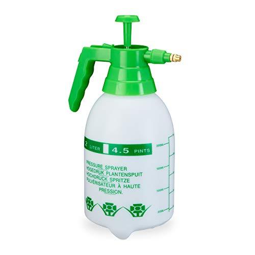 Relaxdays drukspuit, 2 liter, met pompje, planten water geven, ongediertebestrijding, pesticiden, plantenspuit, groen