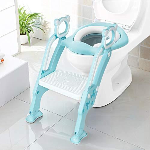 KEPLIN - Escalera de aprendizaje infantil para asiento de inodoro con escalón ancho antideslizante y cojín suave azul azul