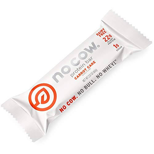 No Cow Protein Bars, Carrot Cake, 22g Plant Based Vegan Protein, Keto Friendly, Low Sugar, Low Carb, Low Calorie, Gluten Free, Naturally Sweetened, Dairy Free, Non GMO, Kosher, 12 Pack