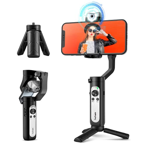 Gimbal Stabilizer for Smartphone, 3-Axis Phone Gimbal w/ AI Tracking Sensor Inception Timelapse, Lightweight Foldable Gimbal for iPhone 12 Pro Max/11 Samsung Vlog Stream Live Video, Hohem iSteady V2
