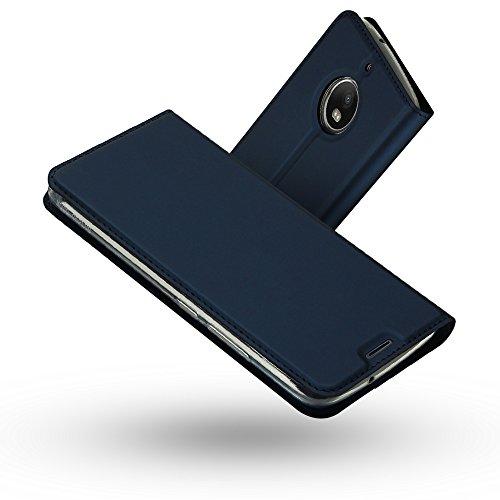 Radoo Moto G5S Hülle, Premium PU Leder Handyhülle Brieftasche-Stil Magnetisch Folio Flip Klapphülle Etui Brieftasche Hülle Schutzhülle Tasche Hülle Cover für Motorola Lenovo Moto G5S (2017) (Blau)