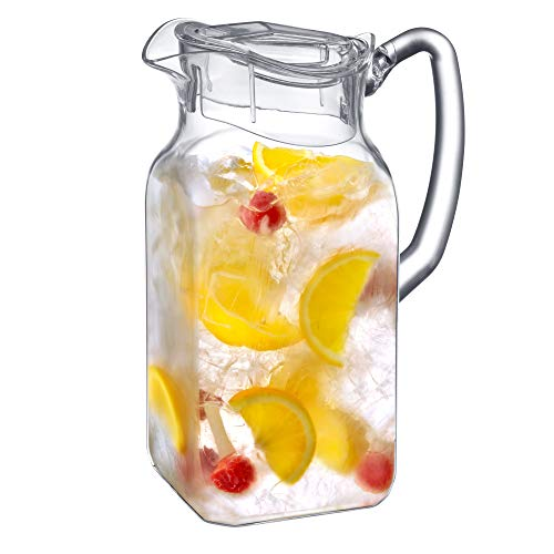 Amazing Abby Quadly - Acrylic Pitcher (64 oz), Clear Plastic Pitcher, BPA-Free and Shatter-Proof, Great for Iced Tea, Sangria, Lemonade, and More