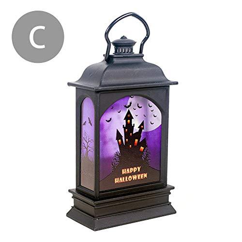 Hearthrousy Halloween pompoenlampen draagbare kerosin-lantaarn in de vorm van olielamp, retro-stijl, pompoenstijl, voor kinderen, kerstdecoratie Halloween